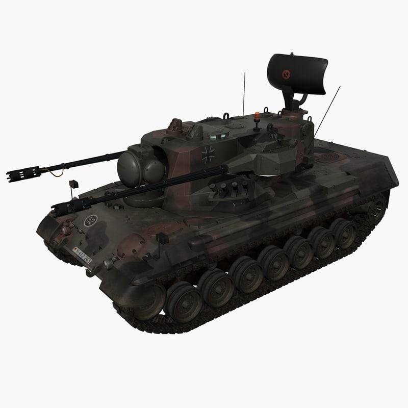3d model of german army flakpanzer gepard