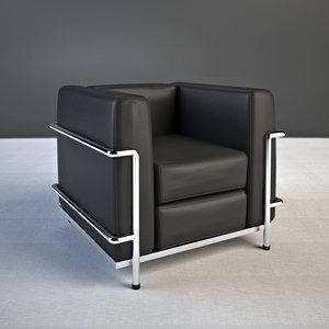 3ds le corbusier armchair lc2