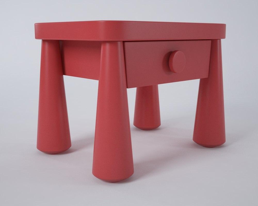 mammut nightstand table ikea 3d model