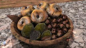 3d model moldy fruit basket