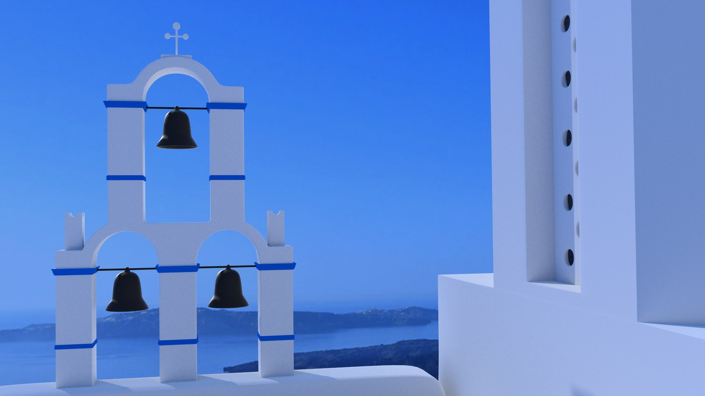greek church santorini 3d model