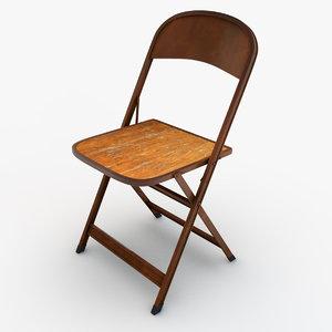 folding metal wood chair 3d obj
