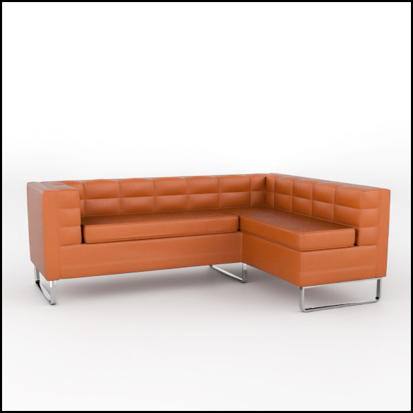 tufted leather sofa obj