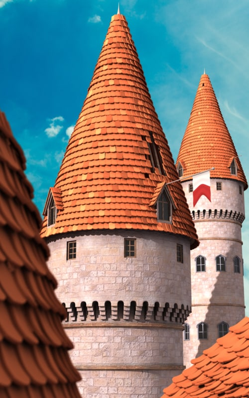 cartoon castle tower 3d ma