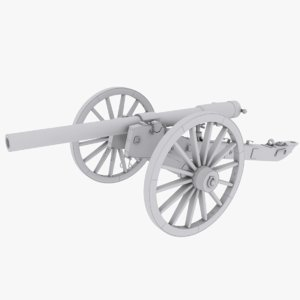 3d mesh civil war cannon model