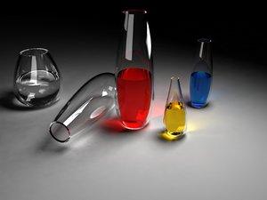 free glass tubes liquids 3d model