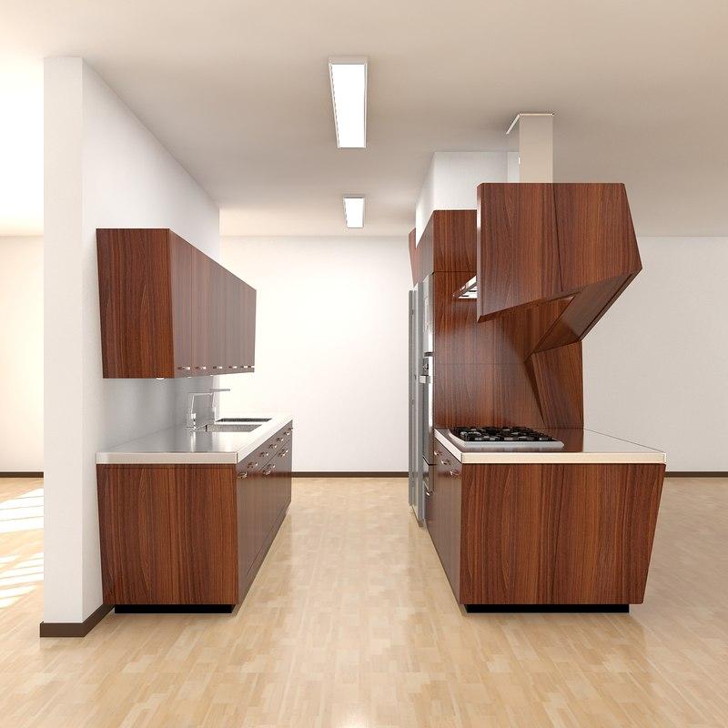 3d kitchen scene modern 2011