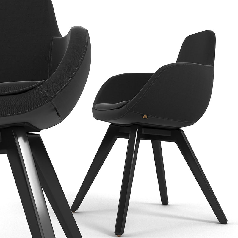 scoop chair black 3d model