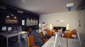 3d model office loft scene