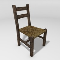 Rustic Cained Chair, Low Poly