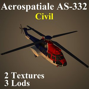 3d model aerospatiale civ helicopter