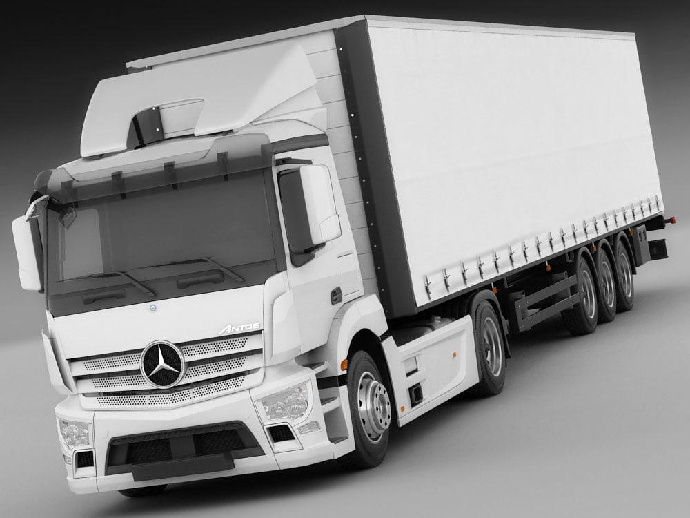 3d model mercedes antos trailer