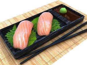 3d model nigiri salmon