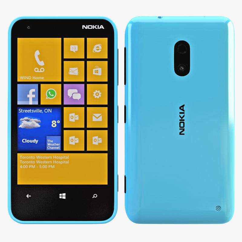 nokia lumia 620 blue 3d model