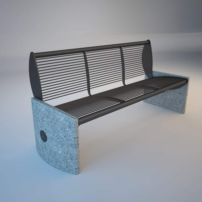 free 3ds model park bench