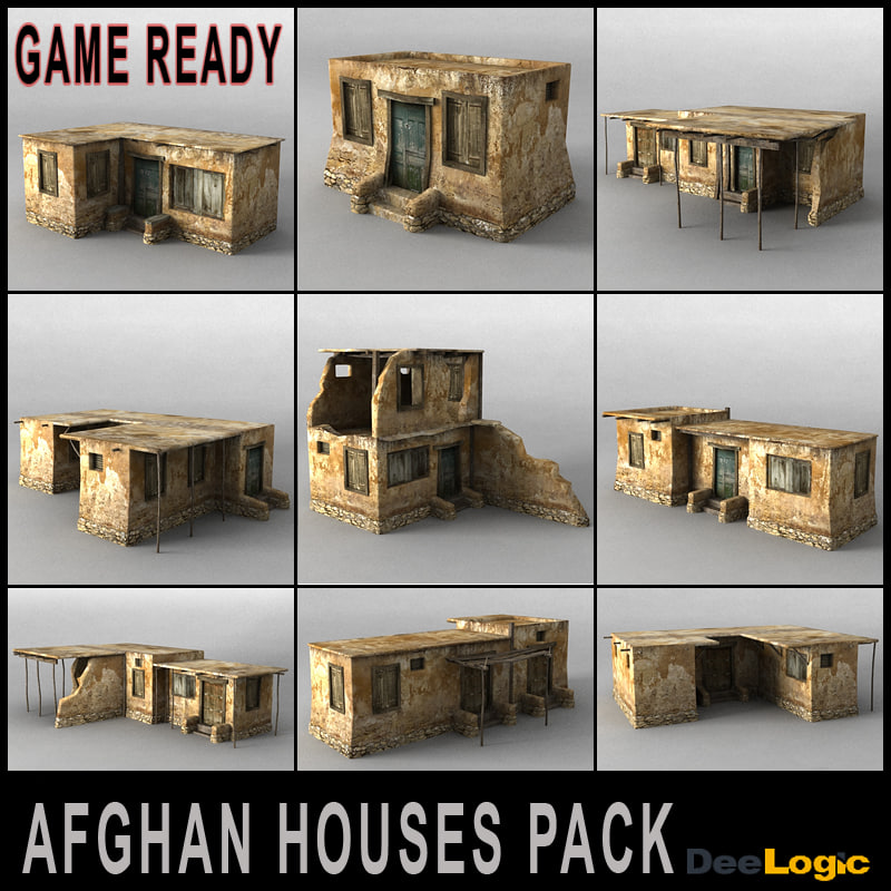 afghan houses pack 3d model