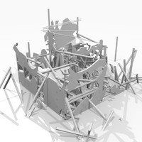 3d ruined destroyed building model