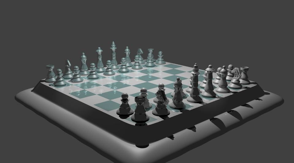 3d model chess glass