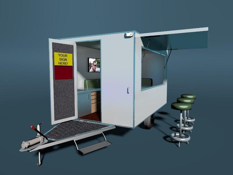 3d model caravan trailer promo
