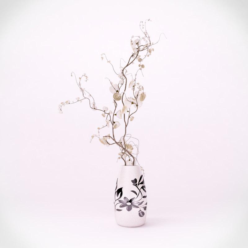 vase roses petals 3d max