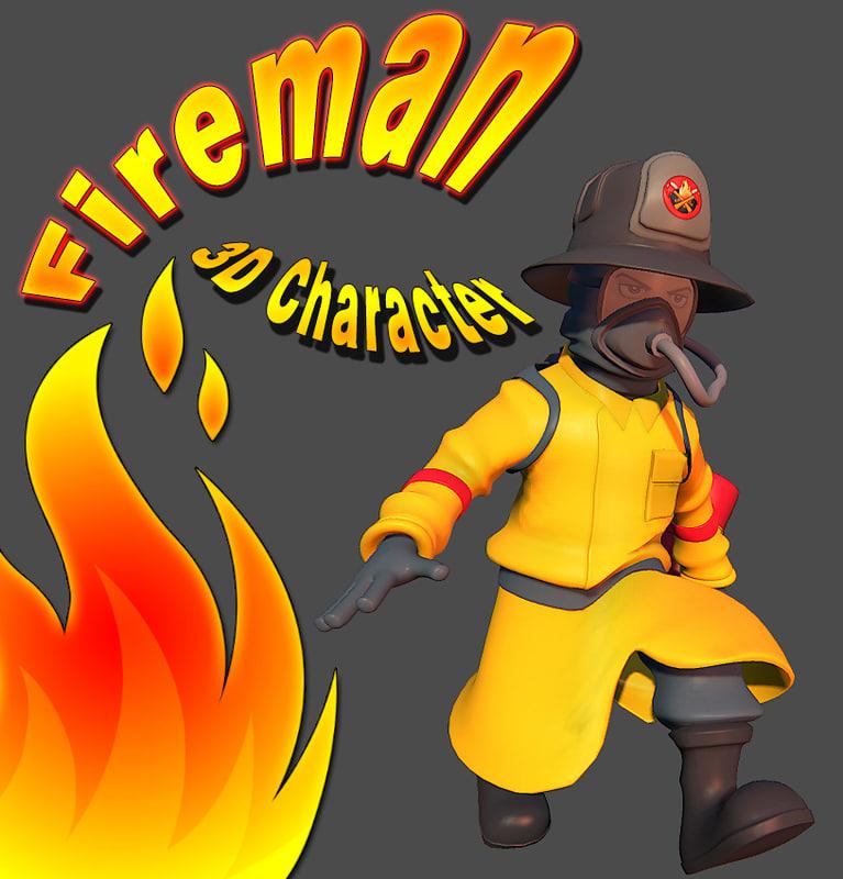 3d obj fireman character