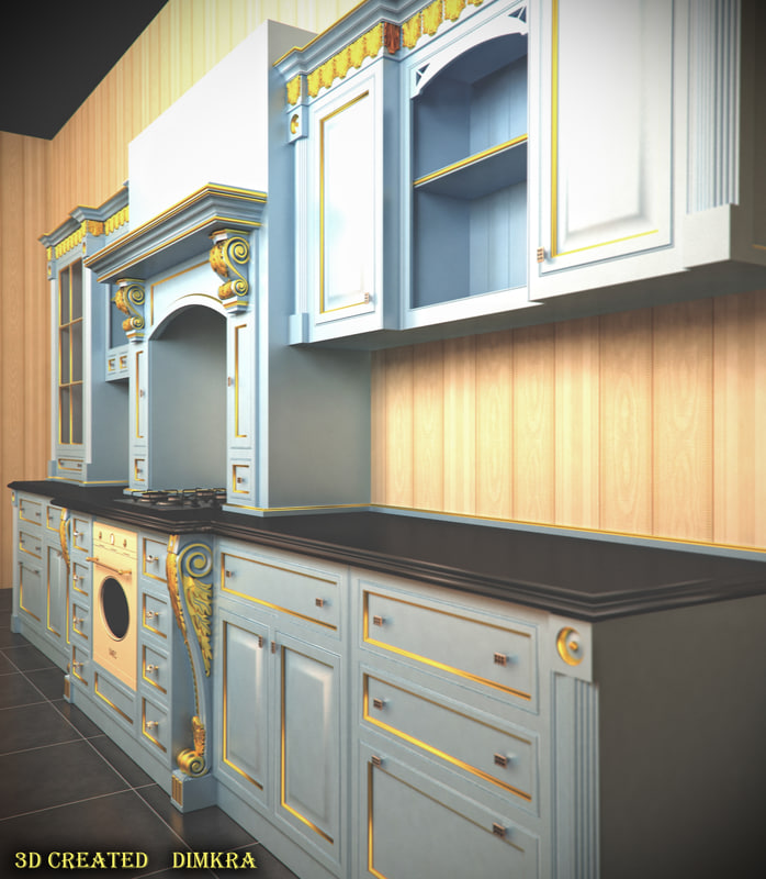 kitchen design 3d model. classic kitchen design 3d model