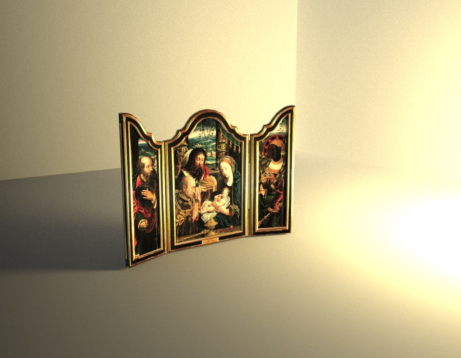 3d flemish painting triptych model