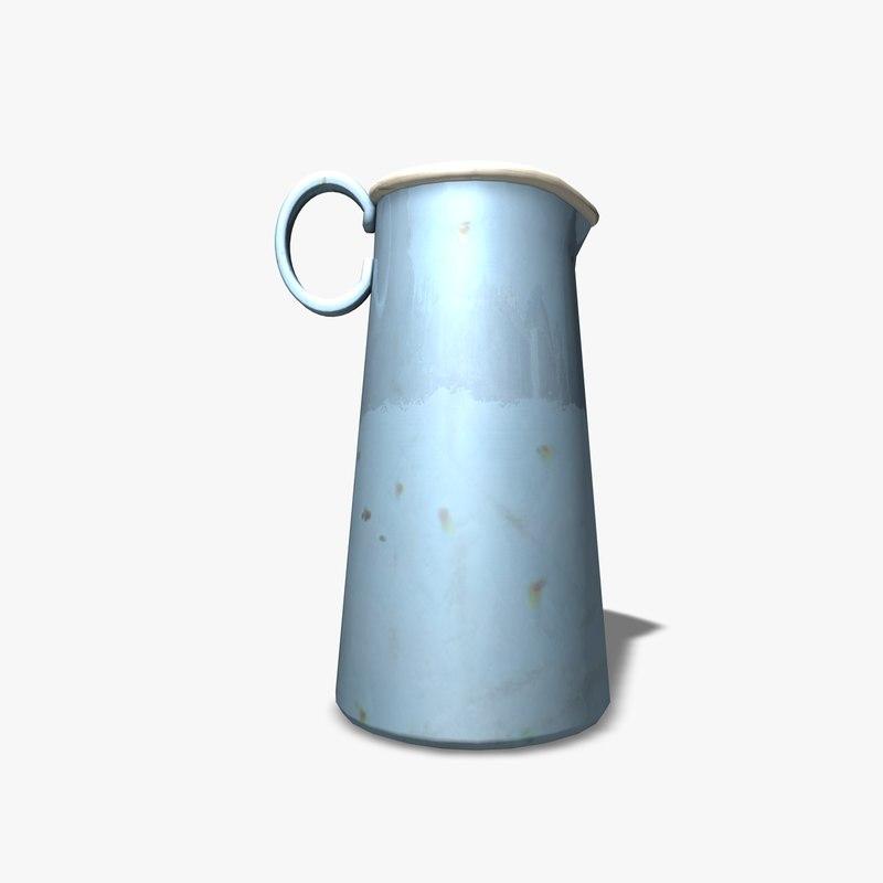 3d c4d old milk jug