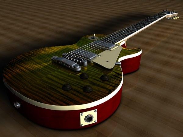 3d model of gibson les paul guitar