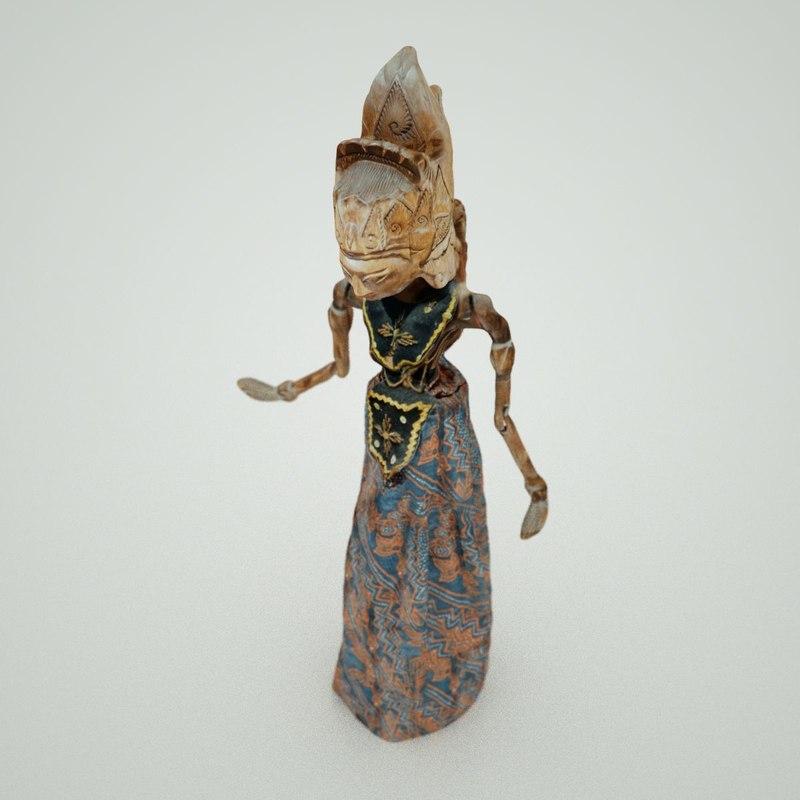 3d obj indonesian doll