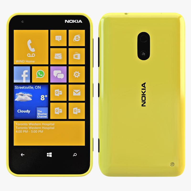 yellow nokia lumia 620 3d model