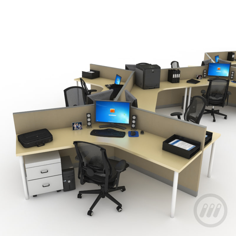 model of office desk workstation