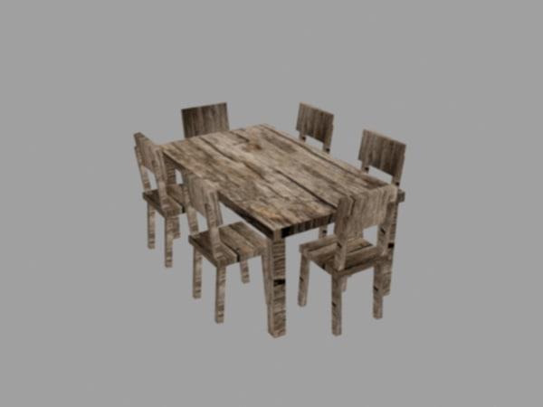wooden table set obj
