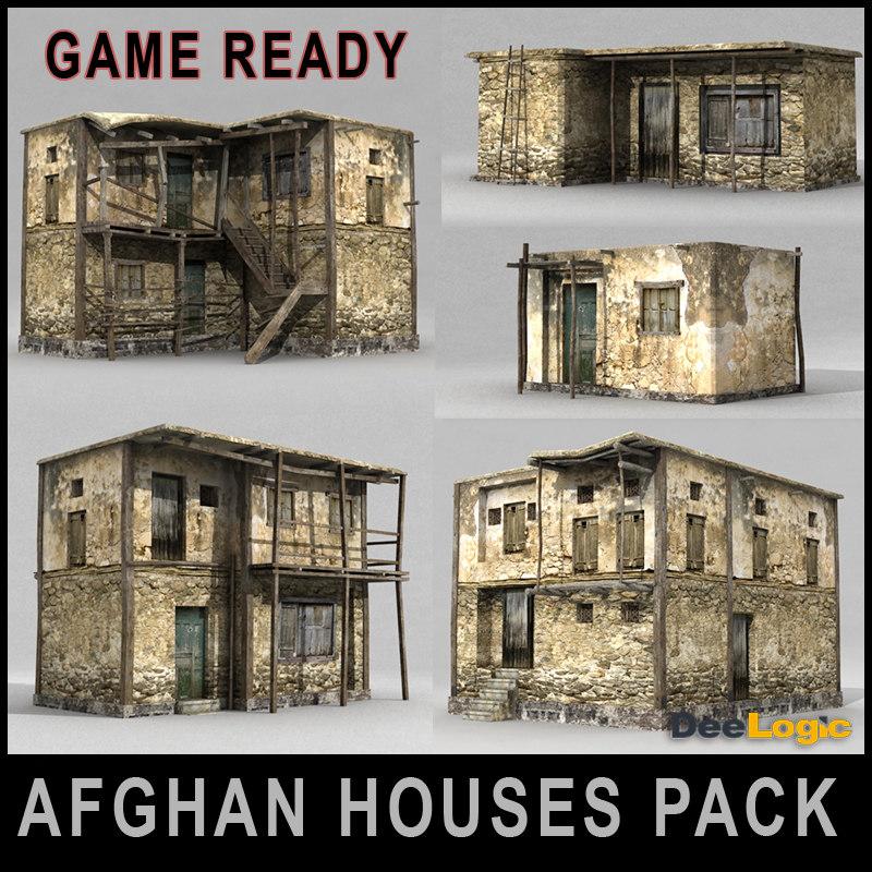 3d model afghan house pack