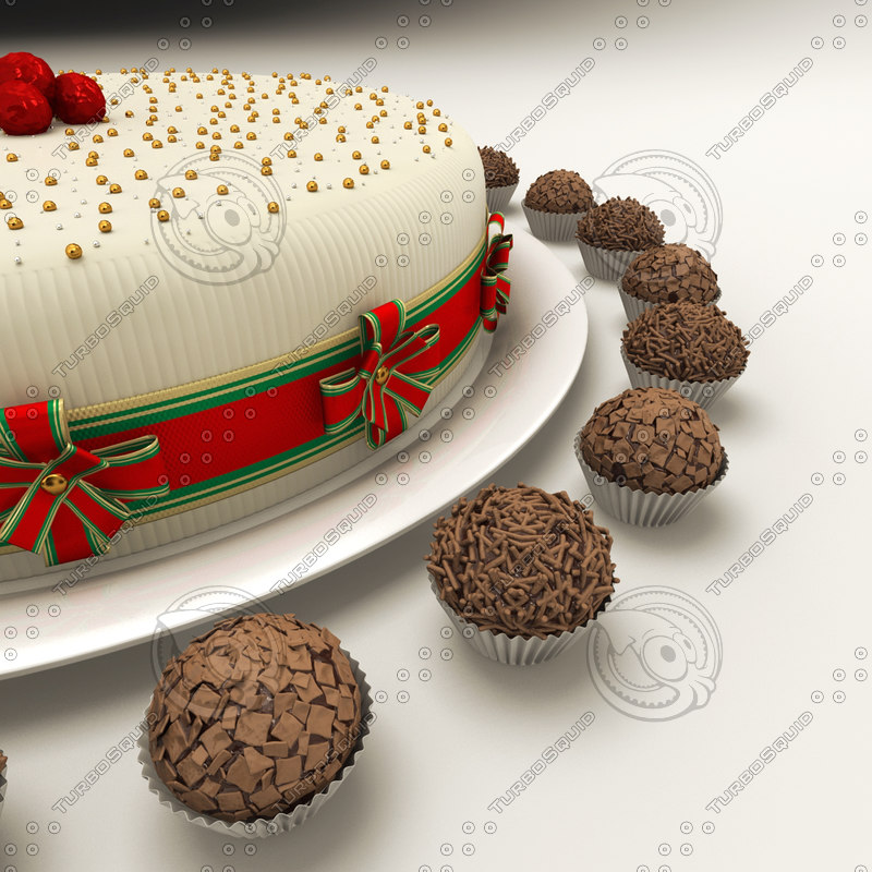 cake chocolate truffle brigader 3d model