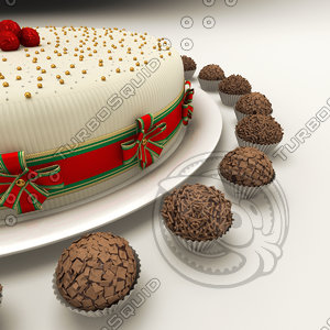 cake chocolate truffle brigader 3d model
