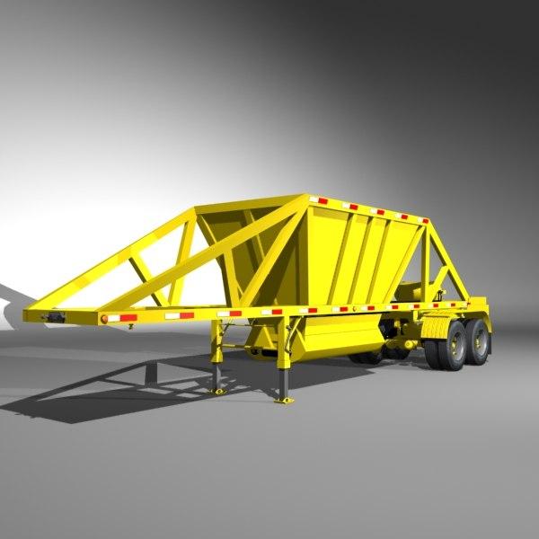 3d model dump semi trailer