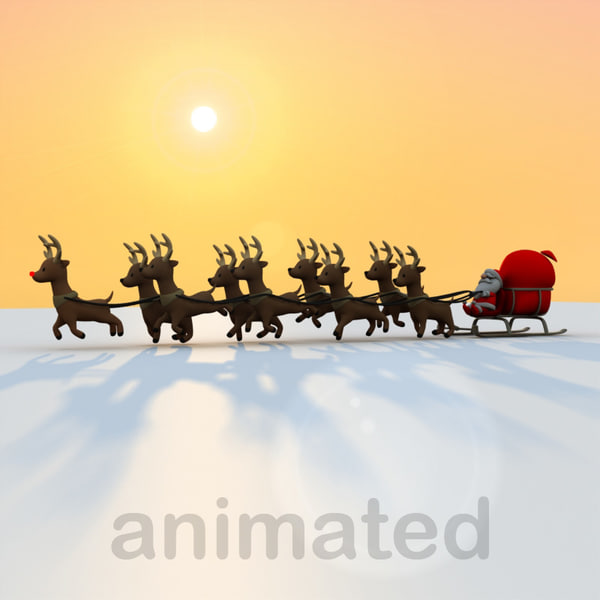 cartoon santa claus sled max