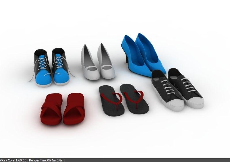 footwear foot wear 3d 3ds