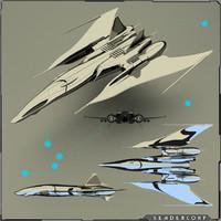 free fighter gunship 3d model