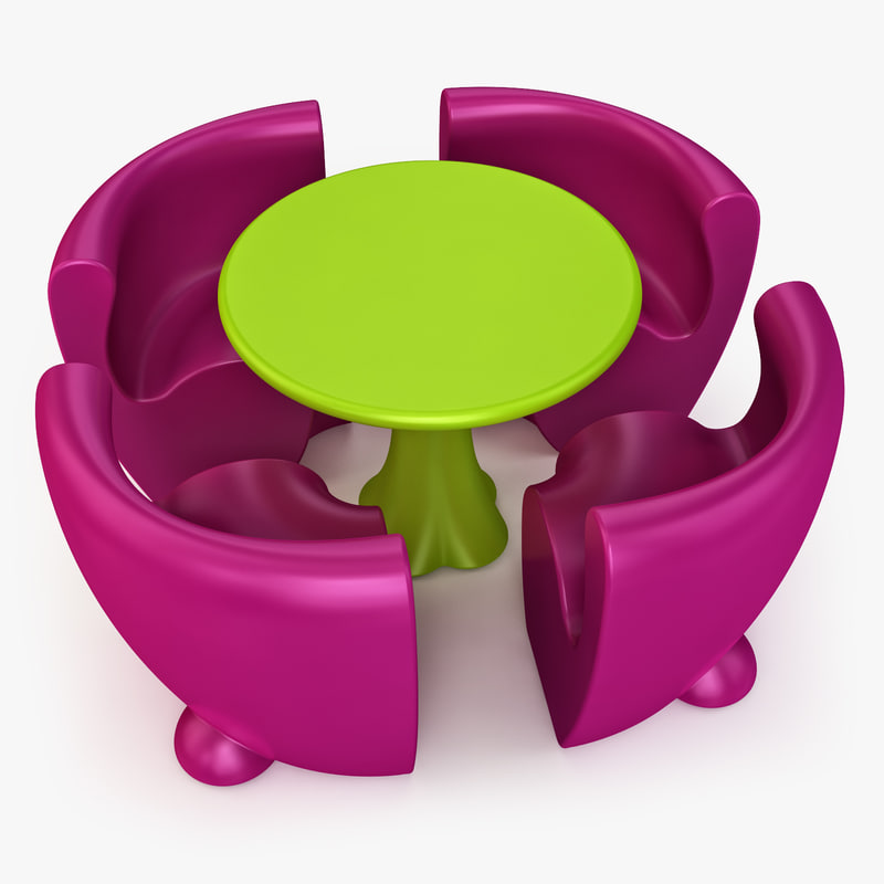 community table chairs 3d max