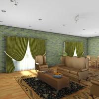 3d living room scene architectural