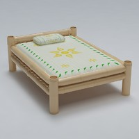 3d model bed cot bamboo