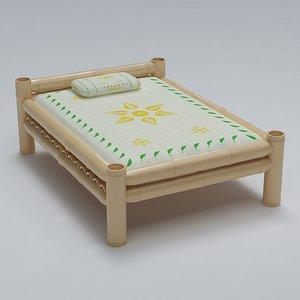 3d model bed cot bamboo