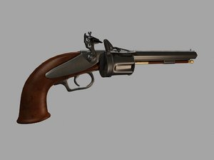 1820 collier flintlock revolver 3d max