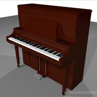piano upright wood 3d model