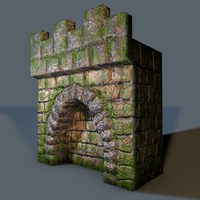 3d low- old castle wall