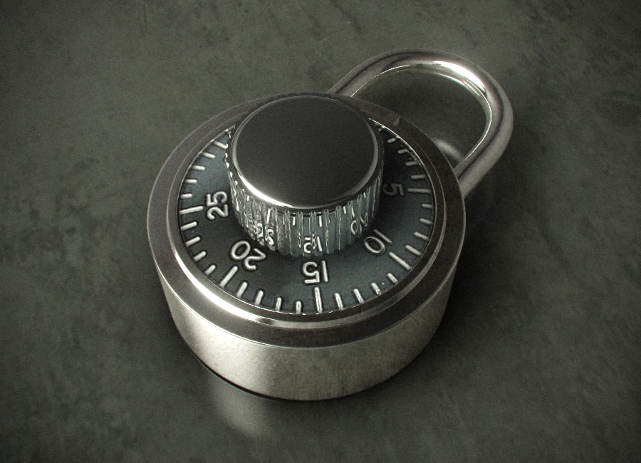 3dsmax combination padlock hdr