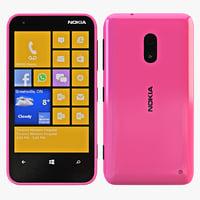 nokia lumia 620 pink 3d model