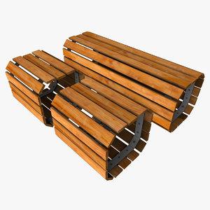 outdoor wooden bench seat 3d obj